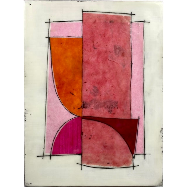 """""""Eat the Cake"""" by Gina Cochran Encaustic Collage Installation - 9 Panels For Sale - Image 12 of 13"""
