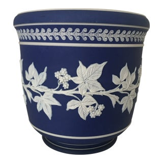 Late 19th Century Antique Wedgwood Style Cobalt Blue Jasperware Jardiniere For Sale