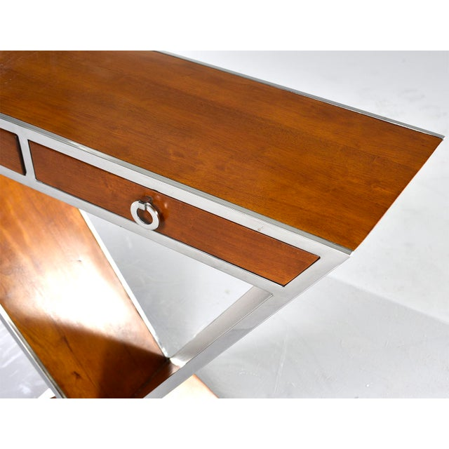 Brazilian Teak and Chrome Console With Triangular Base For Sale - Image 12 of 13
