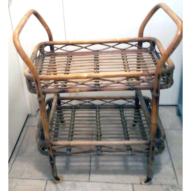 Country 1950s Boho Chic Rattan Bamboo Rolling Serving Cart For Sale - Image 3 of 7