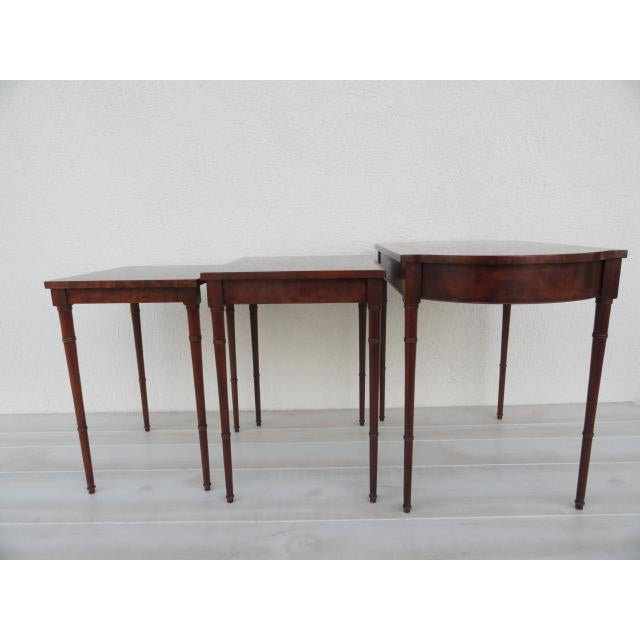 20th Century Traditional Baker Furniture Bamboo Style Nesting Tables - Set of 3 For Sale In Tampa - Image 6 of 12