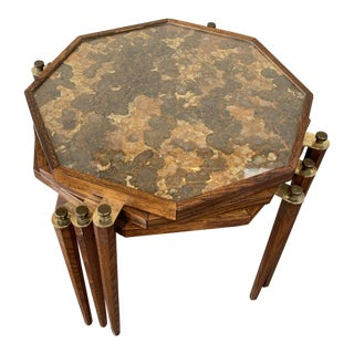 1970s Asian Modern Octagonal Stacking Tables - Set of 3 For Sale