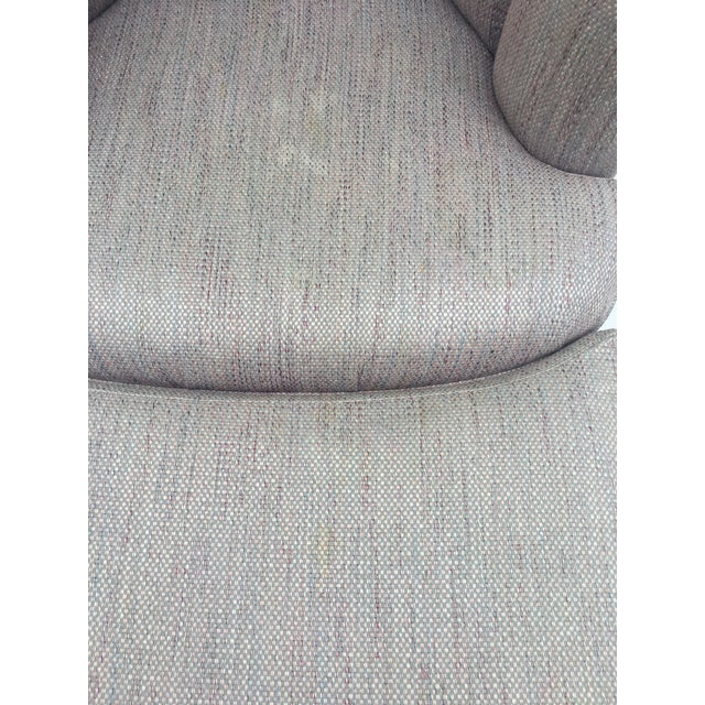 1980s Vintage Milo Baughman Style Shell Swivel Chair & Ottoman For Sale - Image 12 of 13