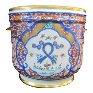 Vintage Porcelain Imari Pot Small Handle Vase Jar Gold Gilt Floral Design For Sale
