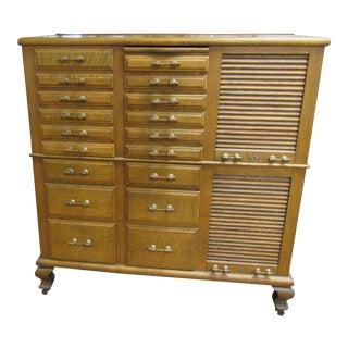 1920s Vintage Tiger Oak Dental Cabinet For Sale