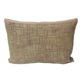 Vintage Dusty Pink Raffia Kuba Tribal Design Decorative Bolster Pillow For Sale