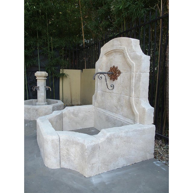 French Carved Limestone Wall Fountain From the South of France For Sale - Image 3 of 11
