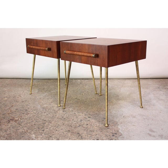 Pair of 1950s Robsjohn-Gibbings for Widdicomb single-drawer nightstands or end tables (model #4001) with brass legs /...