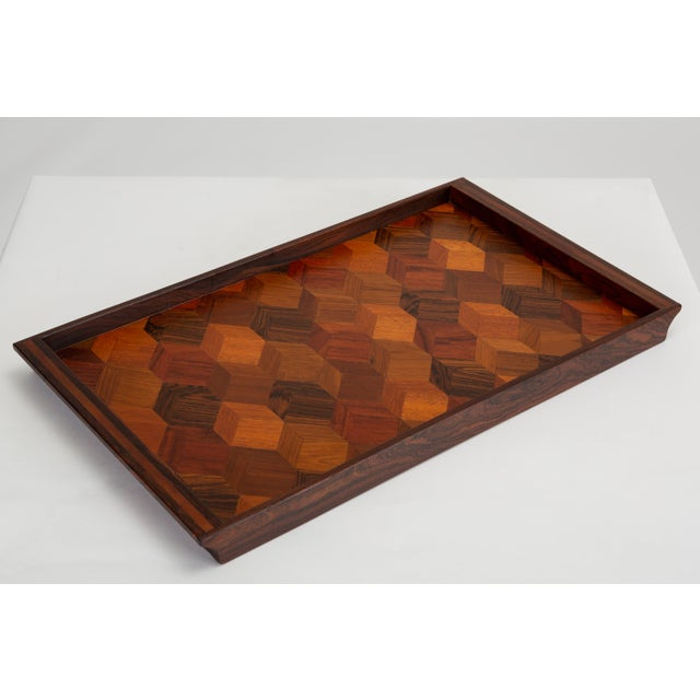 Mid-Century Modern Trompe L'oeil Rosewood Tray by Don Shoemaker for Señal For Sale - Image 3 of 10