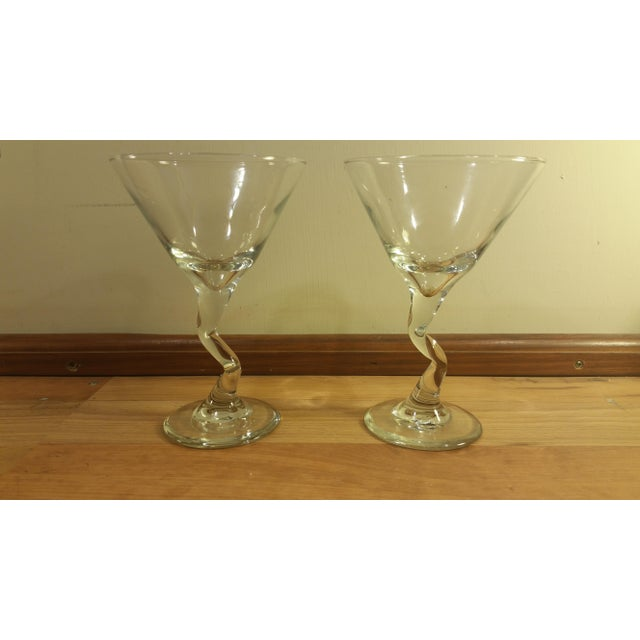 Mid-Century Modern Glass Zig Zag Stem Wine Glasses - A Pair For Sale - Image 3 of 5