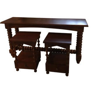 Dark Wood Console Table With Matching End Tables - 3 Pc. Set