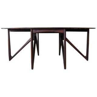 Mid Century Niels Koefoed Rosewood Gate Leg Dining Table, Denmark, 1960s For Sale