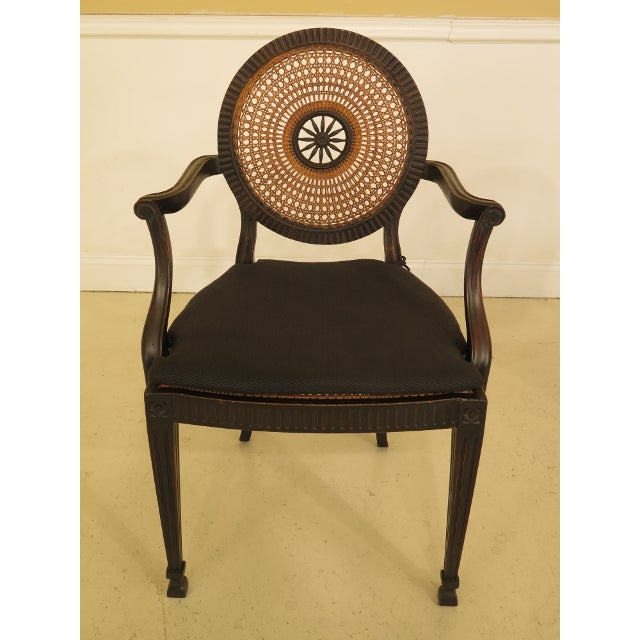 English Traditional Adam Style Cane Back & Seat Arm Chairs - a Pair For Sale - Image 3 of 13