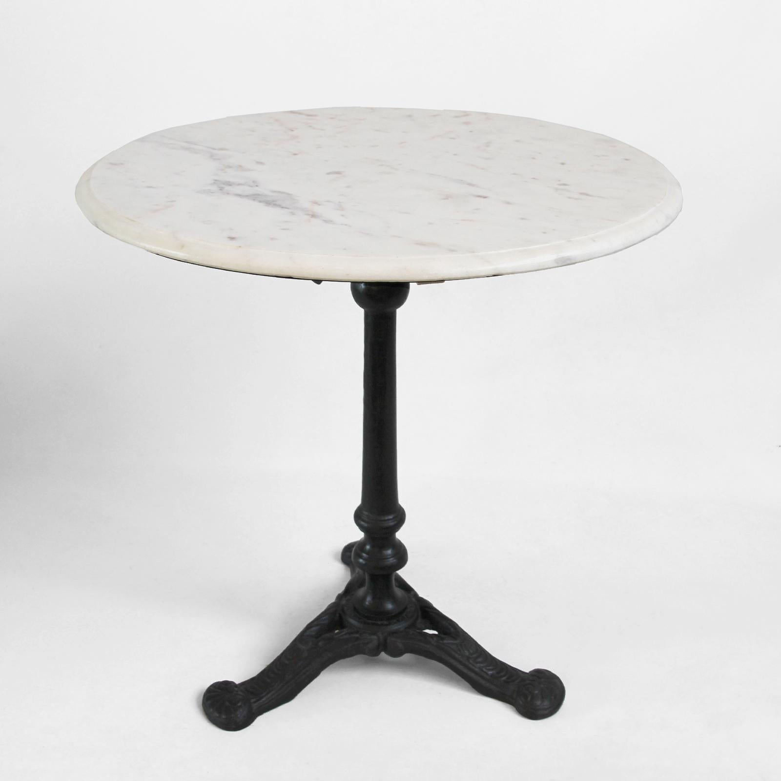 Polished White Marble Side Able With Sturdy Black Cast Iron Base. Great  Bistro Style Piece