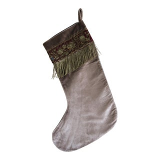 19th C. Metallic Aubergine Appliquéd and Antique Metallic Fringe on Velvet Stocking