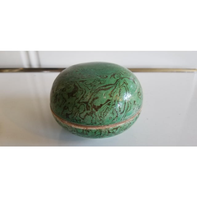 Green Marbled Ceramic Box For Sale - Image 4 of 5