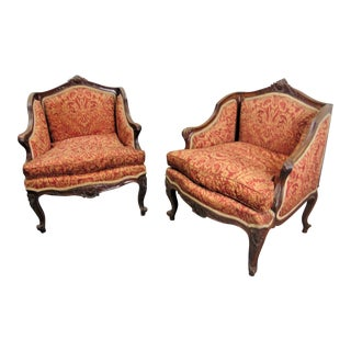 19th C Louis XV Carved Walnut Bergeres - a Pair For Sale