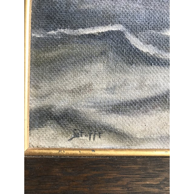 1930s Vintage Ocean Storm Seascape Oil on Canvas Painting For Sale - Image 4 of 8