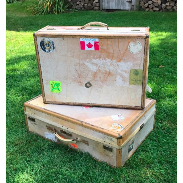 3 Travel Suitcases, Vintage Stickers, Trio of Stacking Cases For Sale - Image 4 of 7