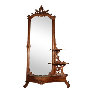 Carved Wood Entryway Mirror With Planter