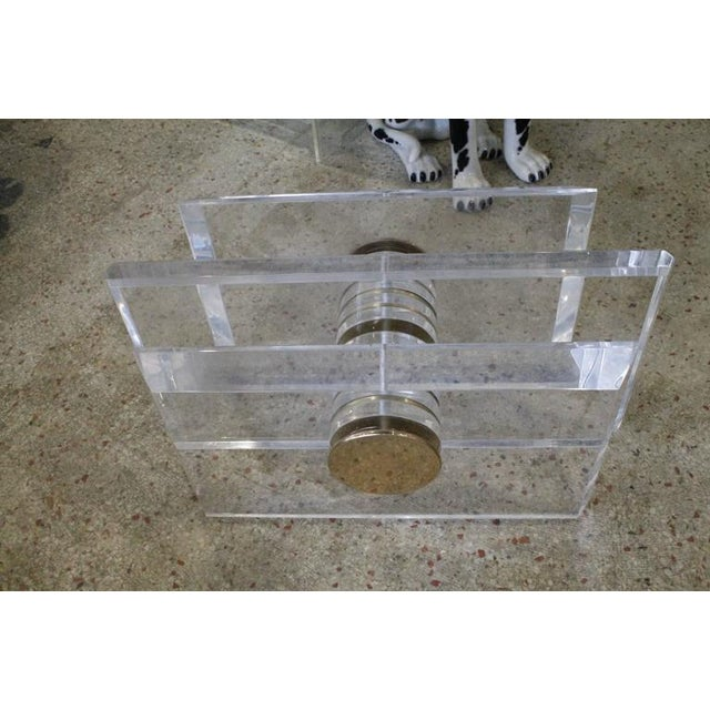 Vintage Lucite and Brass Bolt Coffee or Cocktail Table For Sale In West Palm - Image 6 of 11