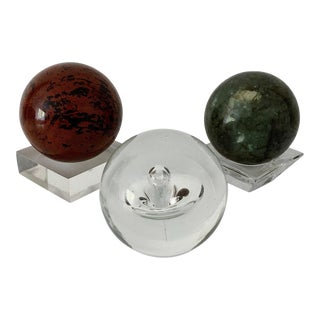 Vintage Marble and Crystal Spheres - Set of 3 For Sale