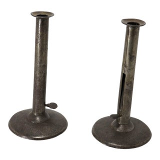 19th Century Early American Hog Scraper Candlesticks - a Pair For Sale