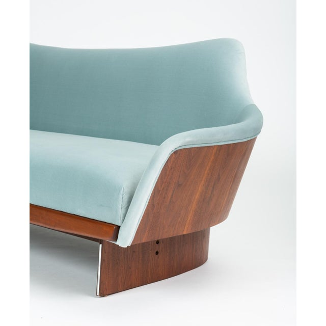 American Made Gondola Sofa in Ice Blue Velvet With Walnut Details For Sale - Image 4 of 13