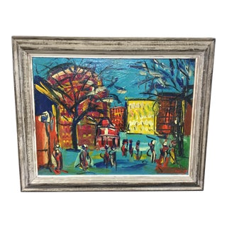 Rare Early Peter Keil Oil on Canvas Painting Dated 59 For Sale