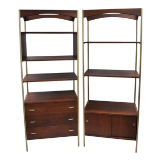 Mid-Century Danish Modern Walnut Bookcases - A Pair
