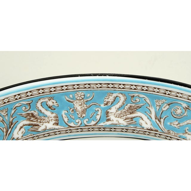 "English Traditional Wedgwood Florentine Turquoise 11"" Oval Serving Platter For Sale - Image 3 of 6"