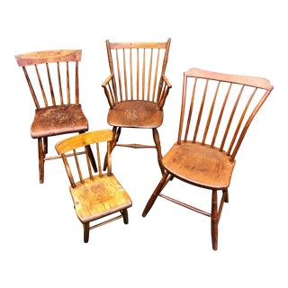 Early 19th Century American Windsor Chairs - Set of 4