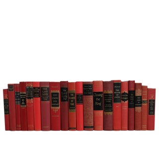 Ruby & Black : Set of Accented Midcentury MIX Decorative Books For Sale