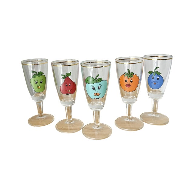 Cordial Fruit Face Shot Glasses - Set of 5 - Image 1 of 7
