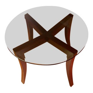Dialogica Custom Made Modern Round Glass Top Sculptural Leg Dining Table