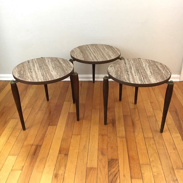 Empire Mid-Century Round Marble Top Stacking Tables - Set of 3 For Sale - Image 3 of 8