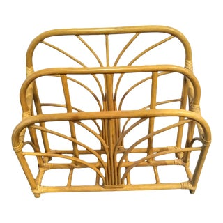 Vintage Rattan Natural Wood Blonde Boho Beach Magazine Rack Holder For Sale