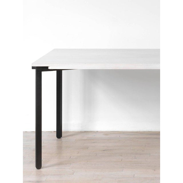 Kin & Company Contemporary Blackened Steel and White Washed Maple Bow Tie Table For Sale - Image 4 of 7