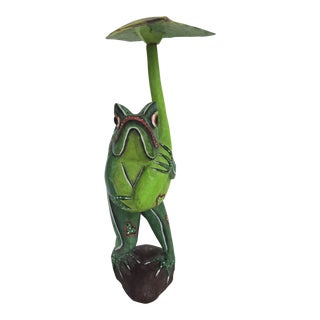 Vintage Balinese Green Frog With Leaf Parasol For Sale