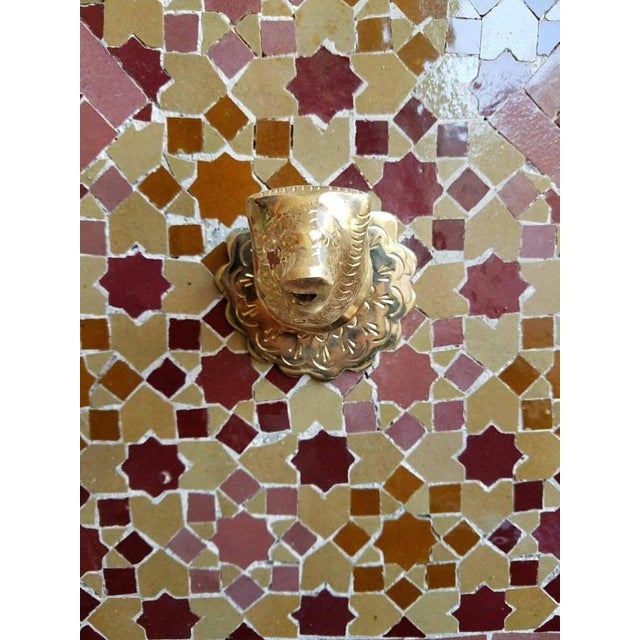 Moroccan Burgundy Multicolor Tile Fountain For Sale - Image 4 of 6