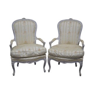 Vintage French Louis XVI Style Fauteuils Arm Chairs - a Pair