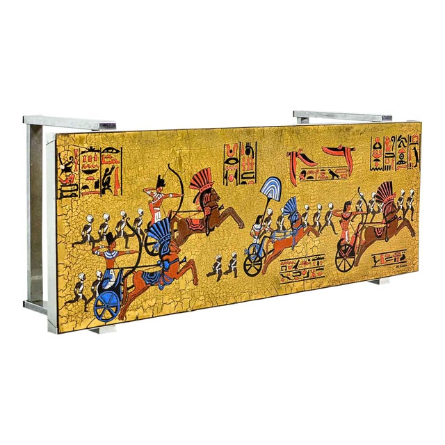Artistic Mid-Century Belgium Design Egyptian Decorated Coffee Table by De Nisco, 1970s For Sale