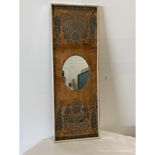 Glass Early 20th Century Antique Mirror on Fabric For Sale - Image 7 of 7