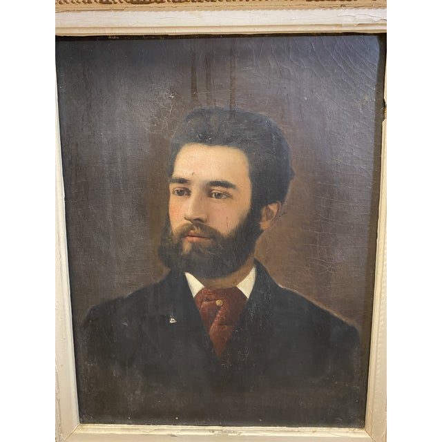 Antique 19th C. Oil on Canvas Portrait of a Handsome Bearded Man White Gilt Gold Frame Typical condition for age. Canvas...