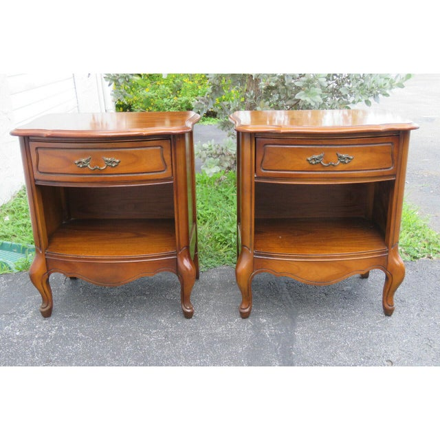 French Cherry Nightstands Side End Tables - a Pair For Sale - Image 12 of 13