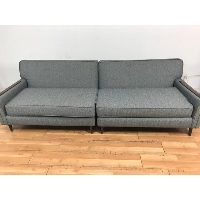 Mid-Century Two Pc. Blue Sectional Sofa For Sale In Los Angeles - Image 6 of 7