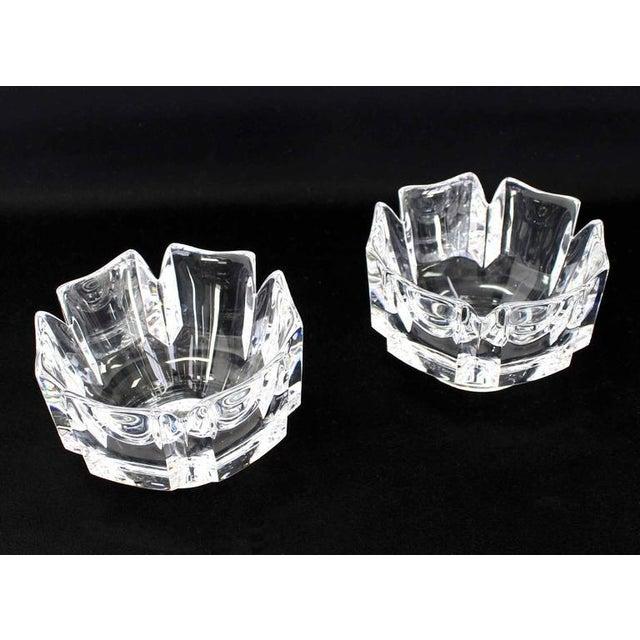 Pair of fine crystal vases bowls by Orrefors of Sweden.