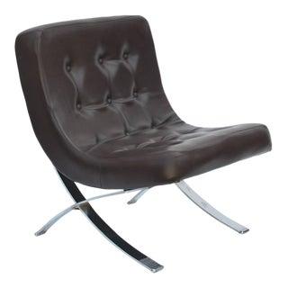 Pair of Chromed Italian 1970s Slipper Chairs For Sale