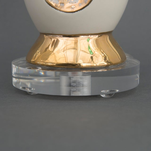 Danish Mid Century Modern Pr of Creamy White Porcelain w/ Gold Accents & Lucite Base Table Lamps - Image 6 of 6