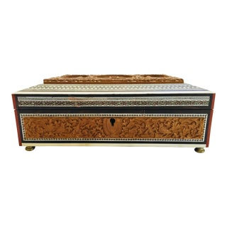 19th Century Anglo-Indian Jewelry Box With Lidded Compartments For Sale